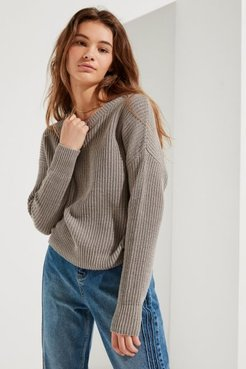 UO Andi Pullover Crew-Neck Sweater - Grey L at Urban Outfitters