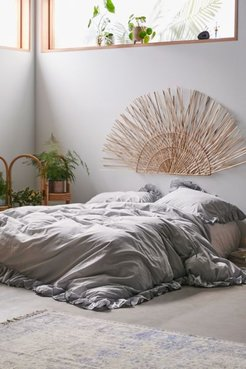 Washed Cotton Overscale Ruffle Duvet Cover - Grey Twin at Urban Outfitters