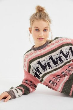 UO Llama Knit Crew-Neck Sweater - Assorted S at Urban Outfitters