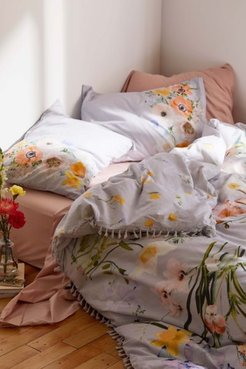 Phoebe Floral Tassel Duvet Cover - Blue Twin at Urban Outfitters