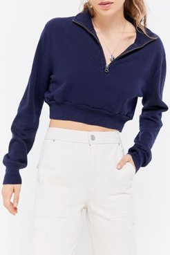 Recycled Cropped Half-Zip Sweater - Blue M/l at Urban Outfitters