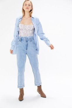 Cinched Paperbag Jean - Blue 28 at Urban Outfitters