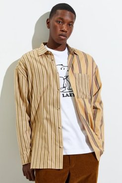 UO Block Stripe Twill Button-Down Shirt - Beige M at Urban Outfitters