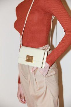 Buckled Leather Crossbody Bag - White at Urban Outfitters