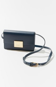 Buckled Leather Crossbody Bag - Blue at Urban Outfitters