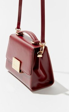 Buckled Leather Top Handle Crossbody Bag - Red at Urban Outfitters