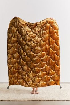 Quilted Velvet Reversible Throw Blanket - Gold at Urban Outfitters