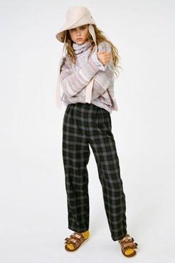 UO Checkered High-Waisted Paperbag Pant - Grey M at Urban Outfitters