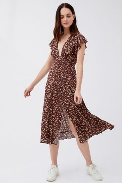 Cleo Sunday Button-Front Midi Dress - Brown 4 at Urban Outfitters