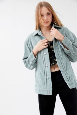 Jana Wide Wale Corduroy Trucker Jacket - Mint Xs/s at Urban Outfitters