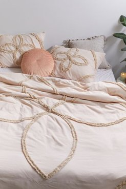 Stassia Feathered Trim Duvet Cover - Beige Full/queen at Urban Outfitters