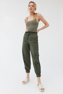 UO Evon High-Waisted Paperbag Jogger Pant - Green Xs at Urban Outfitters