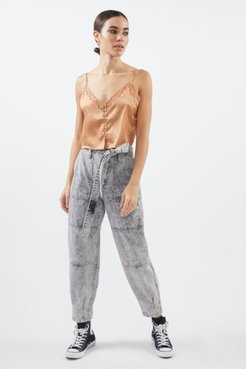 High-Waisted Belted Skate Jean - Acid Wash Denim - Grey 26 at Urban Outfitters