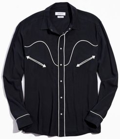 UO Western Rayon Button-Down Shirt - Black M at Urban Outfitters