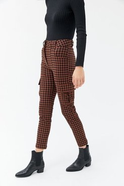 UO Elaine Checkered Skinny Cargo Pant - Brown 6 at Urban Outfitters
