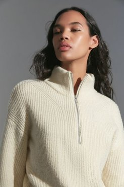 UO Half-Zip Sweater - White Xl at Urban Outfitters