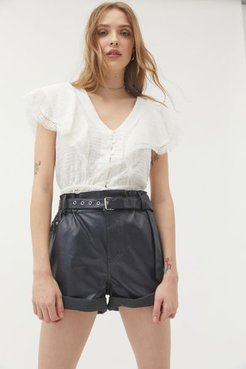 Lucia Faux Leather Belted Short - Black M at Urban Outfitters