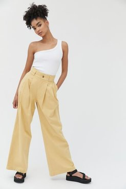 UO Evon Pleated Wide Leg Trouser Pant - Beige 2 at Urban Outfitters