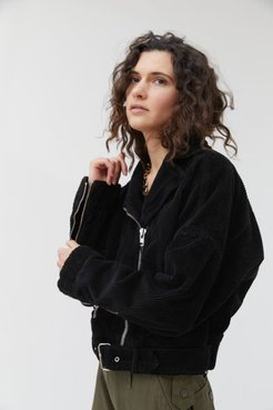 Corduroy Moto Jacket - Black Xs at Urban Outfitters