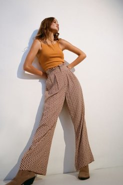 UO Diane Paperbag Wide Leg Pant - Beige 10 at Urban Outfitters