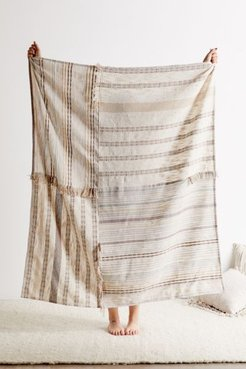 Mackenzie Patched Throw Blanket - White at Urban Outfitters