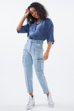 High-Waisted Cargo Jean - Stoned Dayz - Blue 25 at Urban Outfitters