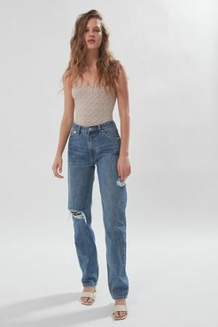 Rebound High-Waisted Straight Leg Jean - Blue 28 at Urban Outfitters