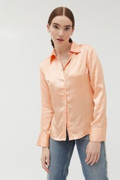 Galaxi Satin Button-Down Shirt - Pink S at Urban Outfitters