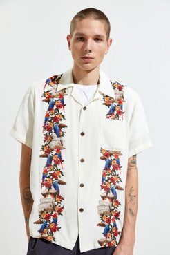 Macaw Aloha Short Sleeve Button-Down Shirt - White Xl at Urban Outfitters