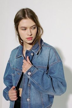 Seamed Denim Trucker Jacket - Blue Xs at Urban Outfitters