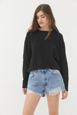 UO Graham Side Slit Crew Neck Sweater - Black Xs at Urban Outfitters