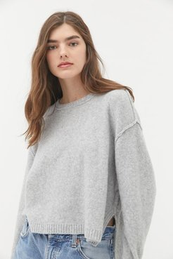 UO Graham Side Slit Crew Neck Sweater - Grey Xs at Urban Outfitters