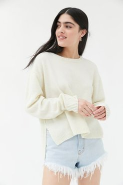 UO Graham Side Slit Crew Neck Sweater - White Xl at Urban Outfitters