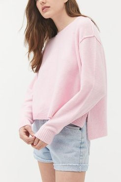 UO Graham Side Slit Crew Neck Sweater - Pink Xs at Urban Outfitters
