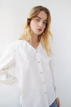 Laracras Lace Trim Button-Down Shirt
