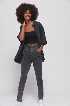 Yoke High-Waisted Tapered Jean - Black 24 at Urban Outfitters