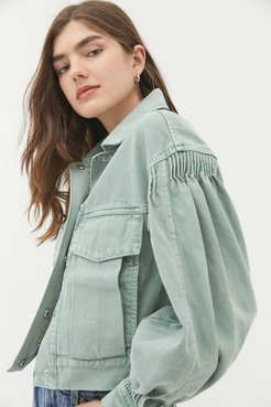Naomi Trucker Jacket - Green Xs at Urban Outfitters
