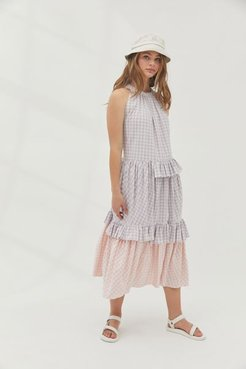Gingham Ruffle Tie-Back Midi Dress