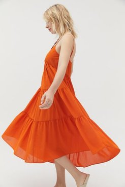 UO Agatha Tiered Midi Dress - Orange L at Urban Outfitters