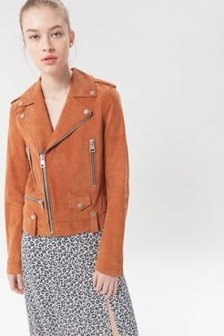 Suede Moto Jacket - Brown Xs at Urban Outfitters
