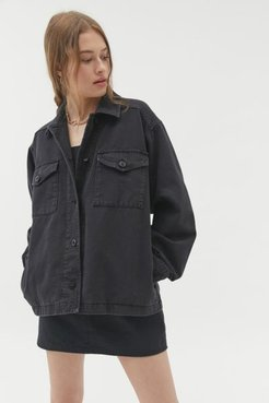 Black Denim Shirt Jacket - Black M at Urban Outfitters