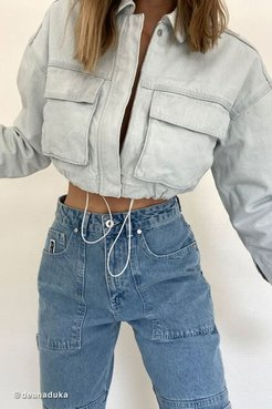 Denim Cropped Utility Jacket - Blue S at Urban Outfitters