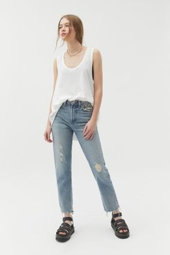 High-Waisted Slim Straight Jean - Destructed Light Wash - Blue 31 at Urban Outfitters