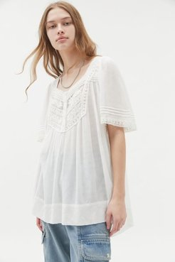UO Emma Embroidered Tunic Top