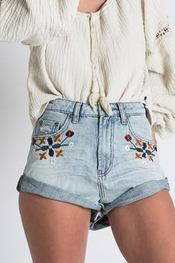 Bandits Embroidered Mid-Rise Short