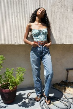 High-Waisted Baggy Jean - Bleach Splatter Denim - Blue 33 at Urban Outfitters