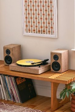 Hampton Wood And Linen Bluetooth Record Player - Brown at Urban Outfitters