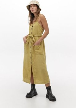 UO Savannah Button-Front Utility Midi Dress - Green M at Urban Outfitters