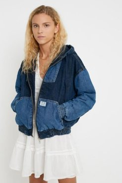 Patchwork Denim Hooded Jacket - Blue S at Urban Outfitters