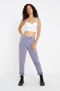 Lilac Acid Wash Corduroy Mom Pant - Purple 28W 30L at Urban Outfitters